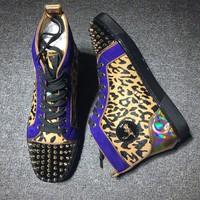 Cl Christian Louboutin Lou Spikes Style #2184 Sneakers Fashion Shoes - Best Deal Online