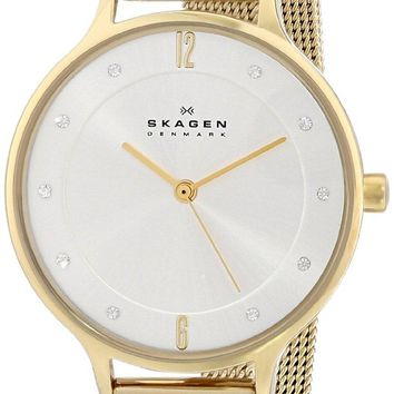 Skagen Anita Gold Tone Mesh Bracelet Crystallized SKW2150 Women's Watch