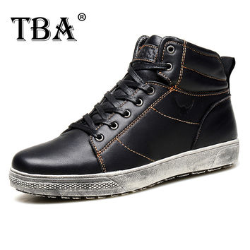 TBA Handmade Cowhide genuine leather men boots working boots platform buckle fashion men shoes