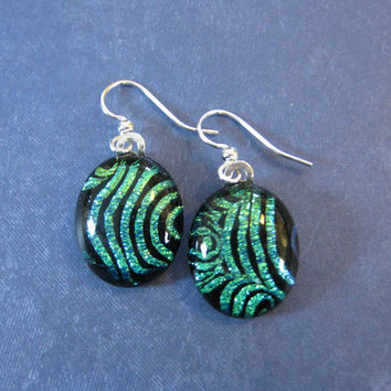Dichroic Green Earrings, Dichroic Dangle Earrings, Earing Jewelry - Fingerprints - 1999 -3