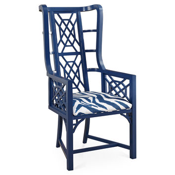 Kings Grant Chair, Navy Zebra, Accent & Occasional Chairs