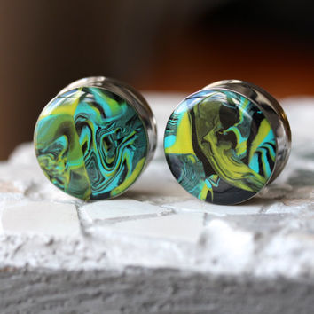 "1"" Ear Gauges, Clay Plugs, Polymer Gauges, Art Plugs, Double Flare, Modified Ears - size 1 inch (25mm)"