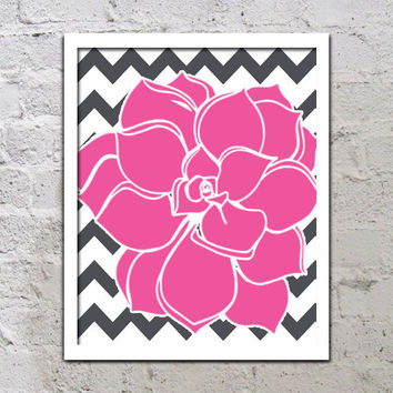 Bold Colorful Dahlia Flower Chevron Fuchsia Pink Charcoal Grey Decor Wall Art Poster Nursery Print Bedroom Bathroom