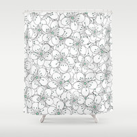 Cherry Blossom Mint Shower Curtain by Project M