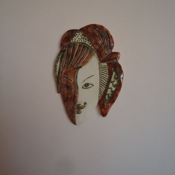Morning is wiser than night. Ceramic mask. Wall art. Red, black, cream.  FREE SHIPPING!