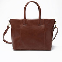 Unstructured Faux Leather Tote