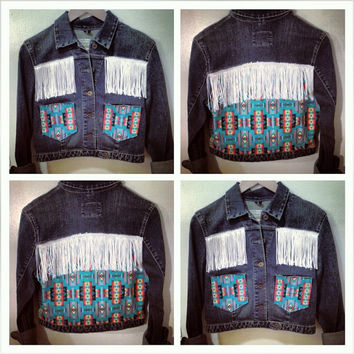 Cropped Denim Jacket with Southwestern Fabric, Fringe
