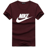 NIKE summer men and women classic chest big logo comfortable round neck T-shirt F-A000-PPNZ Burgundy