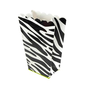 Zebra Popcorn Favor Boxes, 5-Inch, 4-Count