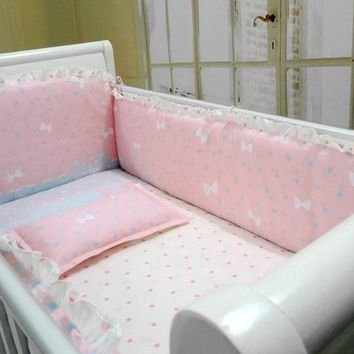 Promotion! 6pcs Pink baby crib bedding sets cotton cot bedding sets detachable crib bumpers ,(bumper+sheet+pillow cover)