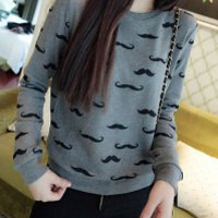 Deep Gray Long Sleeve Printed Sweatshirt