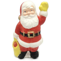 Plastic Lighted Santa Claus With Toy Sack 1960's Indoor Decoration