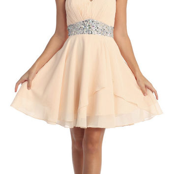 Short Chiffon Semi Formal Dress Champagne Rhinestone Waist