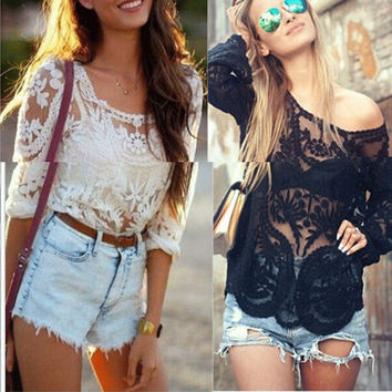 Lace Blouses Women Long Sleeve Short Sheer Summer Embroidery Floral Crochet Tops Hallow Out Women Blusas