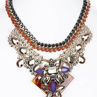 NECKLACE / FACETED LUCITE BEAD / BIB / METALLIC FINISH / BOOK CHAIN / FABRIC / FAUX LEATHER / METAL SETTING / METAL CHAIN / 14 INCH LONG / 3 INCH DROP / NICKEL AND LEAD COMPLIANT