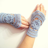 Lace Crochet Fingerless Gloves - Crochet mittens - Wrist warmer - Winter gloves, grey gloves, gifts for her