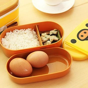 2 Layer Cartoon Lunchbox Bento Lunch Container Food Container Japanese Style Plastic Lunch Storage box