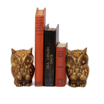 Vintage Brass Owl Bookends Paperweights Made in Japan