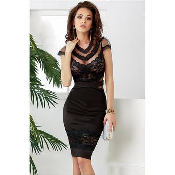2017 hot summer black sexy Banded Floral Lace Dress cute sheath o-neck knee length midi dresses Short Sleeve Clubwear costume