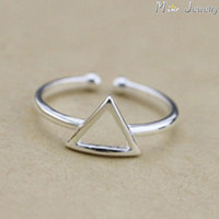925 Sterling Silver Rings Silver Geometric Triangle Ring Open Rings For Girl Women Gift Jewelry