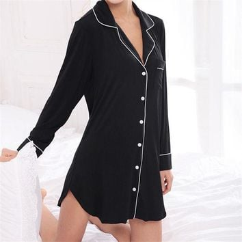 DCCKL3Z New Arrivals Modal Nightgowns Soft Home Dress Sexy Nightwear Women Sleepwear Solid Sleep Lounge Vintage Nightgown Female #H115
