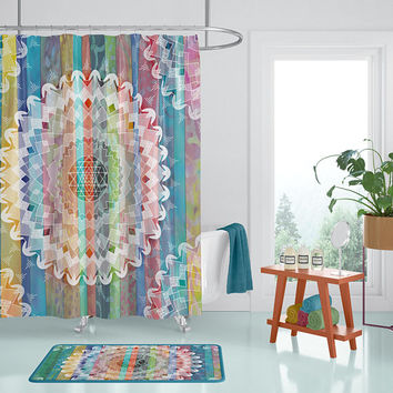 Boho Chic Mandala Shower Curtain - Jewel tone batik stripe with geometric mandala,  blue, green, red, gold