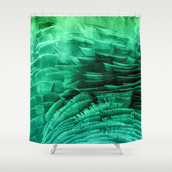 RUFFLED GREEN Shower Curtain by Catspaws