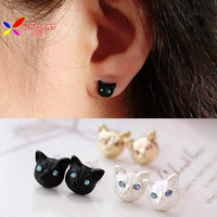 2015 new fashion girls vintage designer gokd white black realistic lovely cat head ear stud earrings for women brinco de meninas