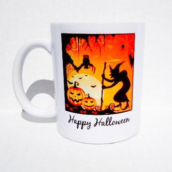 Halloween coffee mug, holiday mug, custom photo mug, personalized gift, holiday gift, travel mug, halloween gift, family mug
