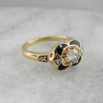 Mine Cut Diamond Ring, Unique Diamond Ring, Black Enamel Setting, Vintage Gold Ring