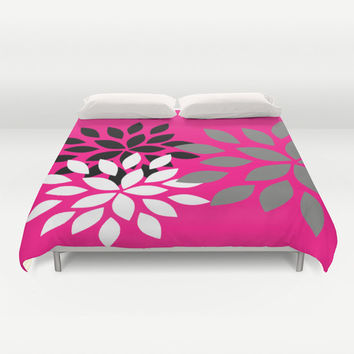 Duvet Cover Hot Pink Black Grey White Dahlia Print  Abstract Bedroom Decor Bedding Contemporary Art Print