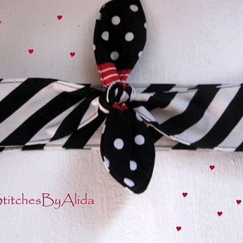 Hair Bandana, Knotted Headband, Black and White, Pin Up HairBand, Hair Scarf, Bohemian HairBand, Hair Bandana, Rockabilly Headband #203