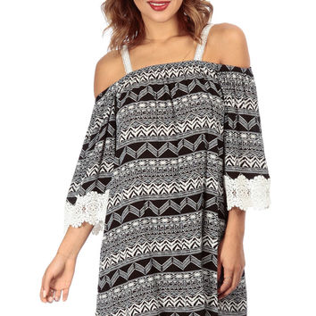Tribal Print Crochet Detail Flutter Dress