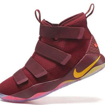 Purchase Newest 2017 Nike Lebron Soldier 11 XI Cavs Cleveland Cavaliers Burgundy Gold Brand sneaker
