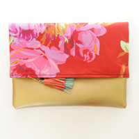 BLOSSOM 4 / Gold leather & Floral cotton folded clutch - Ready to Ship