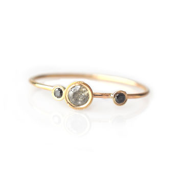 14kt Gold Salt & Pepper Diamond Adele Ring