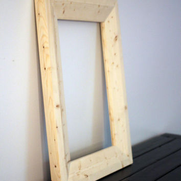 Unfinished White Wood 2x4 Beveled Mirror Frames