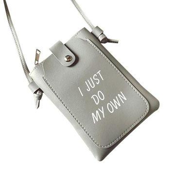 "Perfect Messenger Bag ""I Just Do My Own"" Crossbody With Interior Slots For Cell Phone/Key Holder and Much More  GREY"