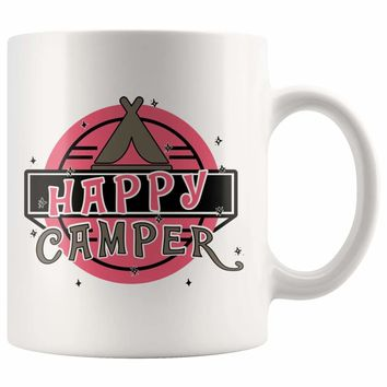 Camping Mug Happy Camper 11oz White Coffee Mugs