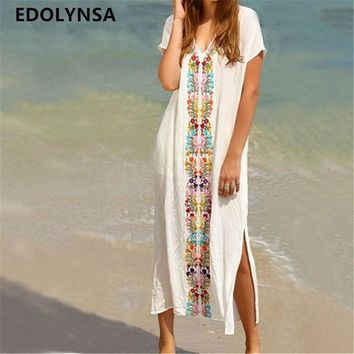 ONETOW New Arrivals Beach Cover up Rayon Embroidery Swimwear Ladies Vintage Pareo Kaftan Beach Swimsuit Robe de Plage Beachwear #Q18