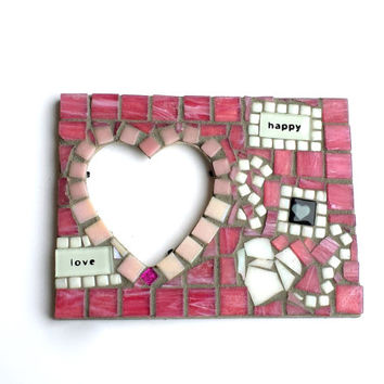 Mosaic Art Heart Picture Frame. Original Mixed Media Artwork. Great for a Lover, Anniversary, Valentines Present, or Home Decor.