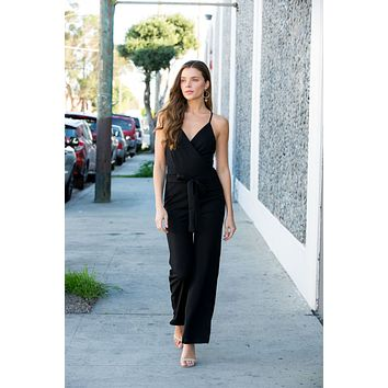 Black Sleeveless Solid Jumpsuit