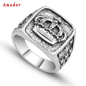 Hot Sell Punk Arrival Silver Color Crown Signet Ring