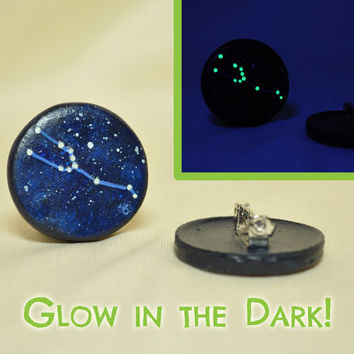 Taurus Pinback Button, GLOW in the DARK, Constellations, Zodiac, Horoscope, Astrology, Astronomy, April 20 - May 20, The Bull, The Stars