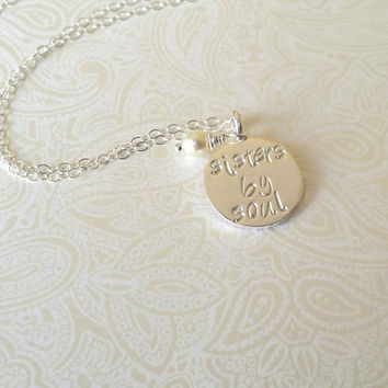 Sisters by Soul Silver Best Friend Necklace-Best Friend, Like a Sister