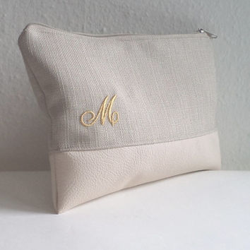 Personalized Clutch / Embroidered Pouch / Ivory Clutch Bag
