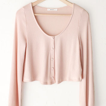 Ribbed Knit Crop Sweater - Pink