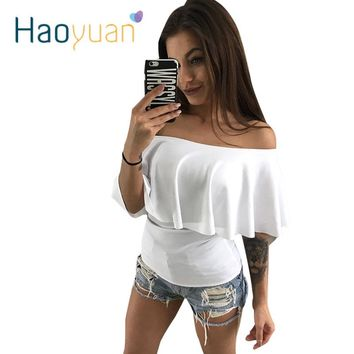 HAOYUAN Casual Ruffle Slash Neck Blouse Summer Shirt Women Sexy Short Sleeve Fashion Black White Blouses Blusas Off Shoulder Top