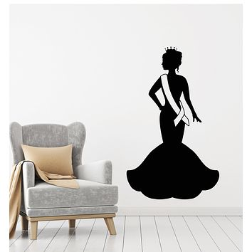 Vinyl Wall Decal Miss Beauty Crown Queen Lady In Evening Dress Stickers Mural (g1592)