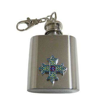 Colorful Celtic Cross 1 Oz. Stainless Steel Key Chain Flask
